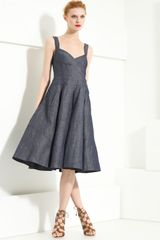 Donna Karan New York Collection Organza & Denim Pleated Dress - Lyst