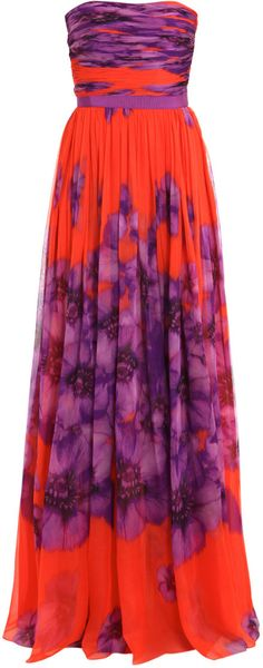 Giambattista Valli Silk-chiffon Long Dress in Purple (orange)