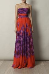 Giambattista Valli Silkchiffon Long Dress in Purple (orange) - Lyst