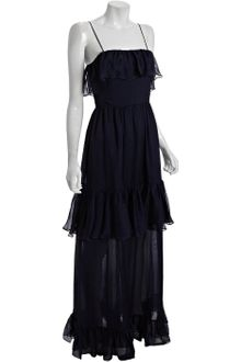 Halston Heritage Navy Silk Tiered Ruffled Maxi Dress - Lyst