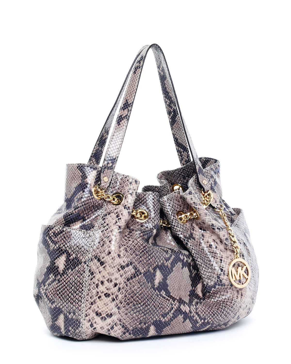 df237681a5b3 Lyst - Michael Kors Jet Set Python-embossed Chain Ring Tote