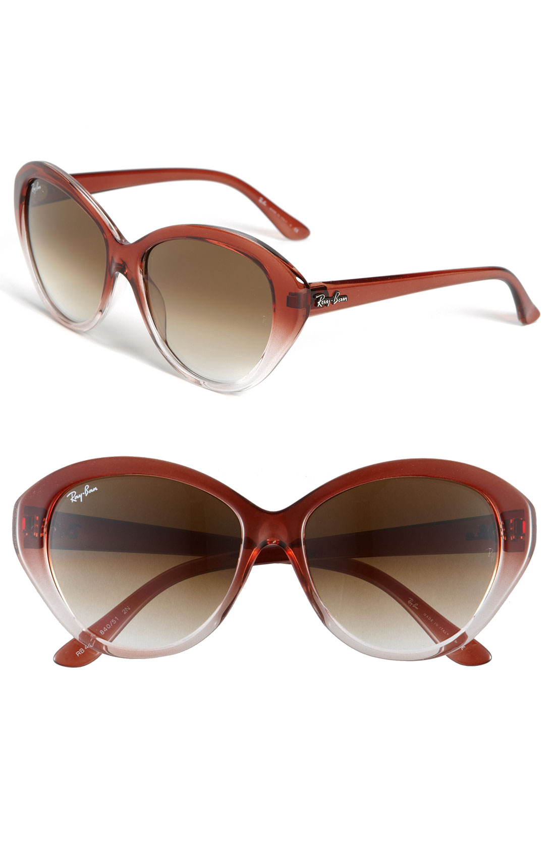 ray ban retro cats eye sunglasses in brown gradient brown. Black Bedroom Furniture Sets. Home Design Ideas