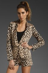 Tibi Cheetah On Cotton Sateen Blazer in Beige (sand multi) - Lyst