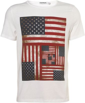 Topman White Multi Flag Crew T-shirt - Lyst