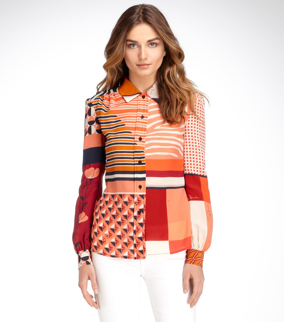 f8afba68decaa Lyst - Tory Burch Angelique Blouse in Red
