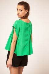 ASOS Collection Top With Roll Sleeve And Button Back - Lyst