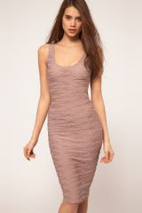ASOS Collection Asos Textured Midi Bodycon Dress with Scoop Back - Lyst