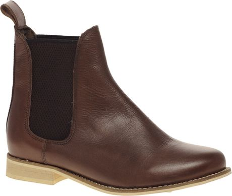 asos asos alibi leather chelsea ankle boots in brown lyst