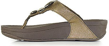 Fitflop Lunetta Bronze Metallic Leather Jeweled Thong