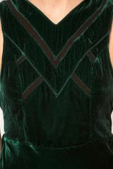 House Of Dagmar Dagmar Velvet Dress With Low Draped Back in Green (emeraldgreen) - Lyst