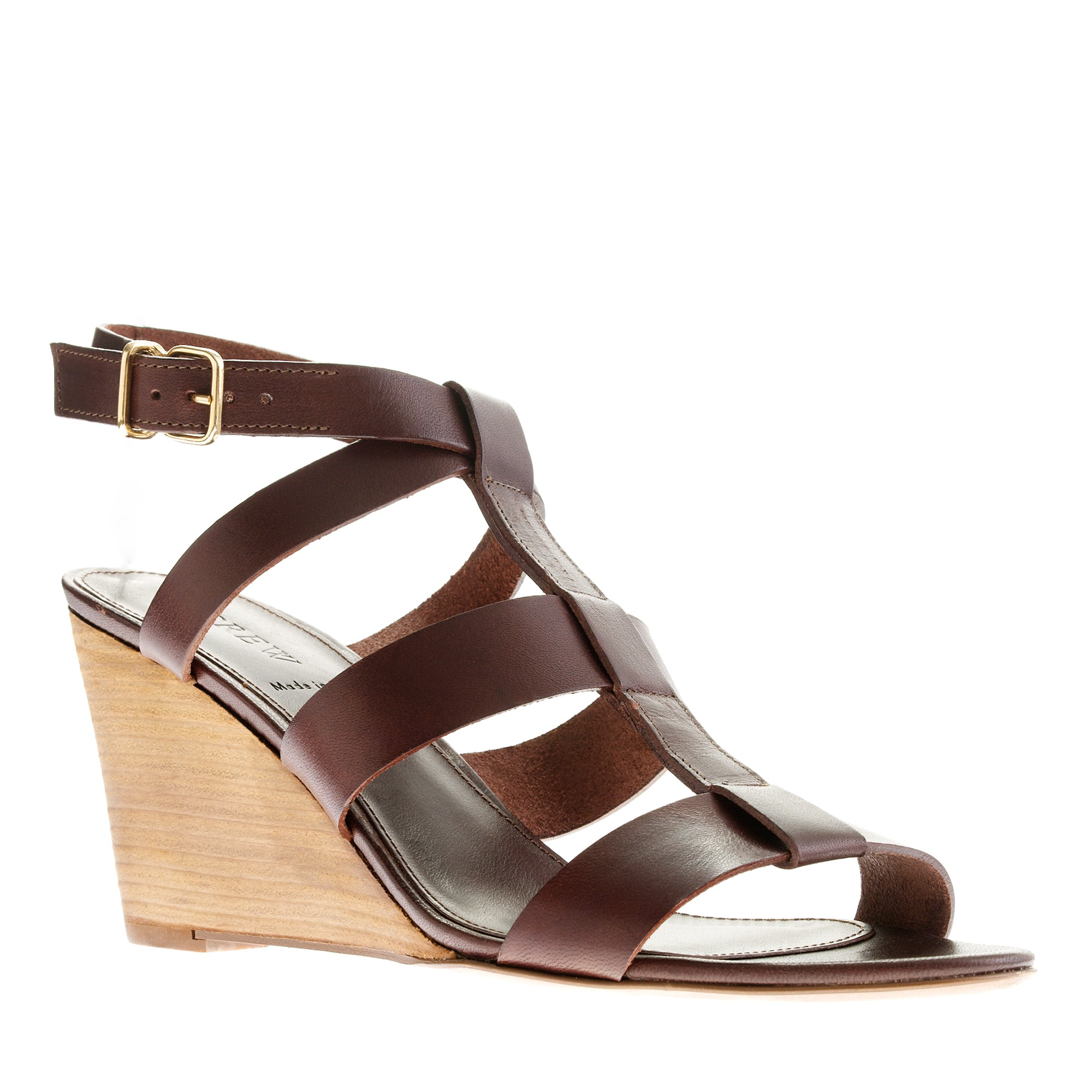 j crew olympia leather wedges in brown lyst