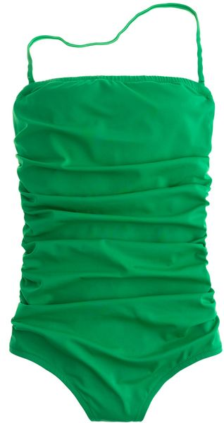 J.crew Ruched Bandeau Tank in Green (festival green)