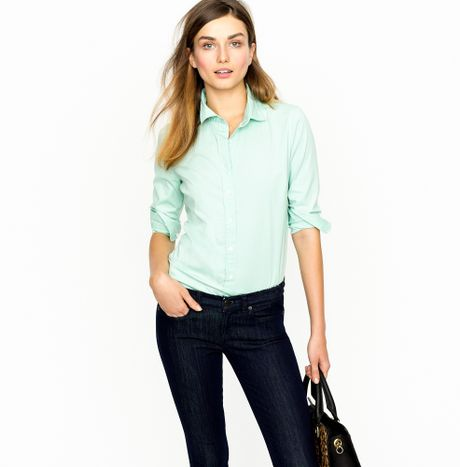 J.crew Threequarter Sleeve Stretch Perfect Shirt in Blue (misty aqua) - Lyst