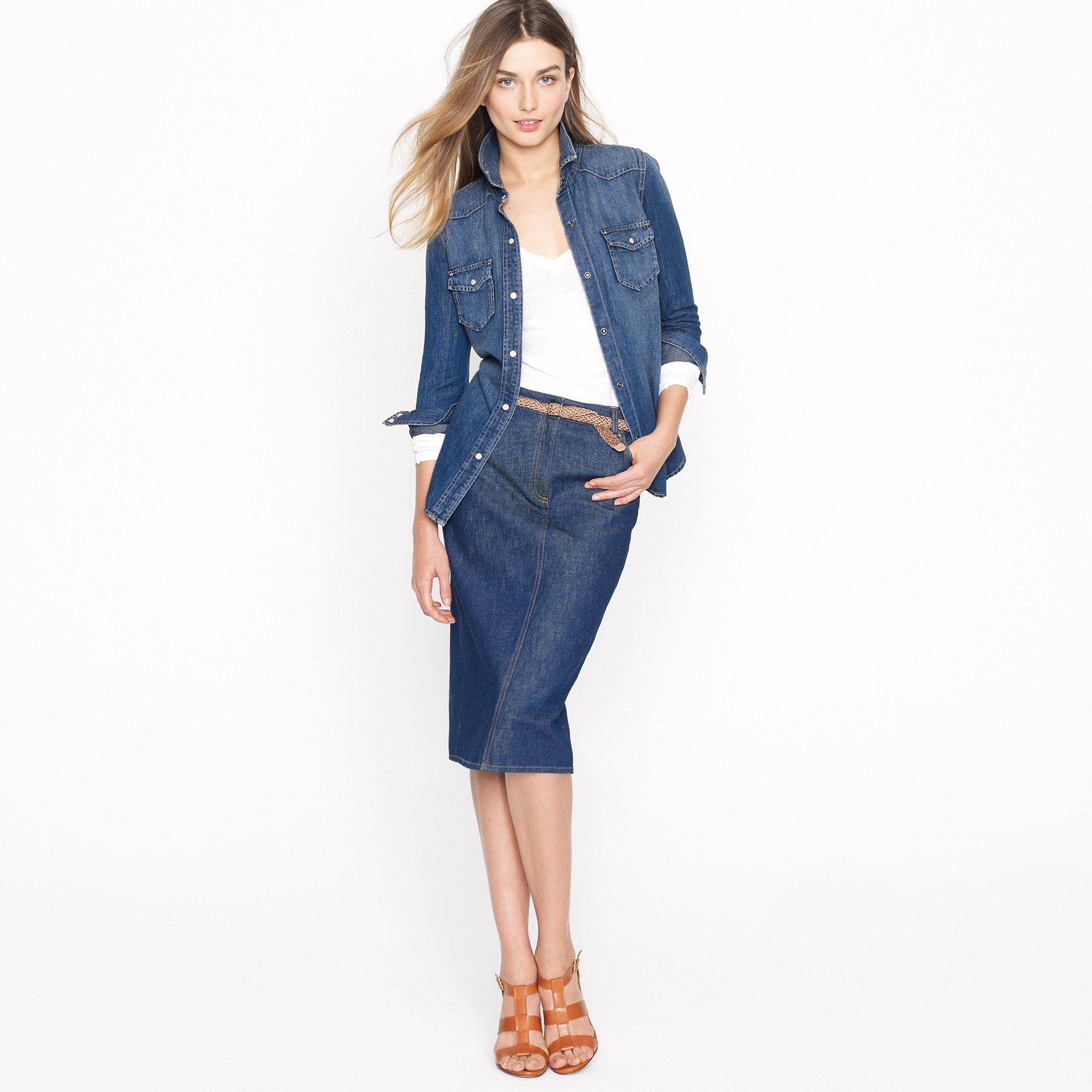 J.crew High-waisted Denim Pencil Skirt in Farmstand Wash in Blue ...