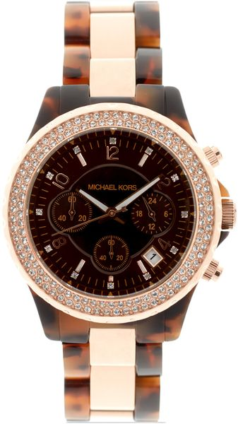 Michael Kors Two Tone Tortoiseshell Chronograph Watch - Lyst