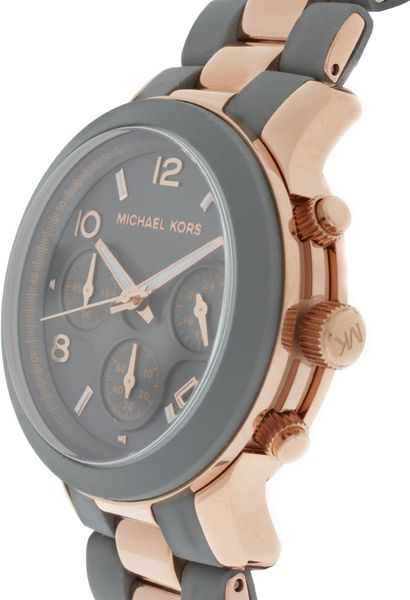 Michael Kors Two Tone Grey And Rose Gold Chronograph Watch ...