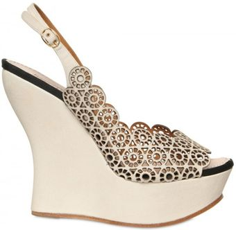 Nina Ricci 130mm Lasered Leather Open Toe Wedges - Lyst