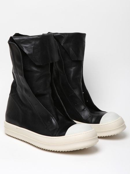 rick owens mens leather ramones boot in black for lyst