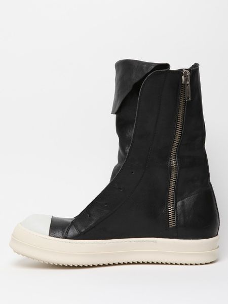Rick Owens Mens Leather Ramones Boot In Black For Men Lyst