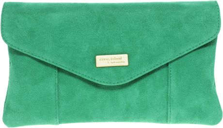 River Island Suede Envelope Clutch Bag in Green - Lyst