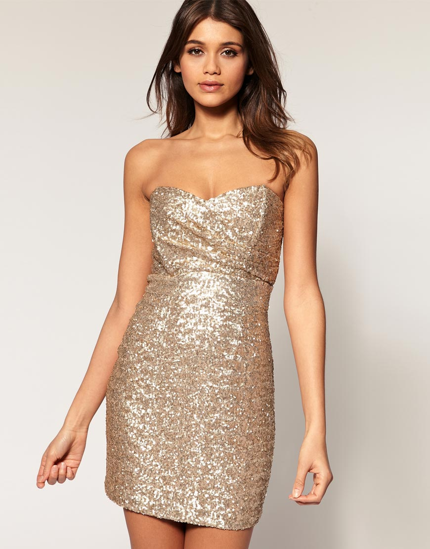 Tfnc london Tfnc Bandeau Sweetheart Sequin Dress in Metallic - Lyst
