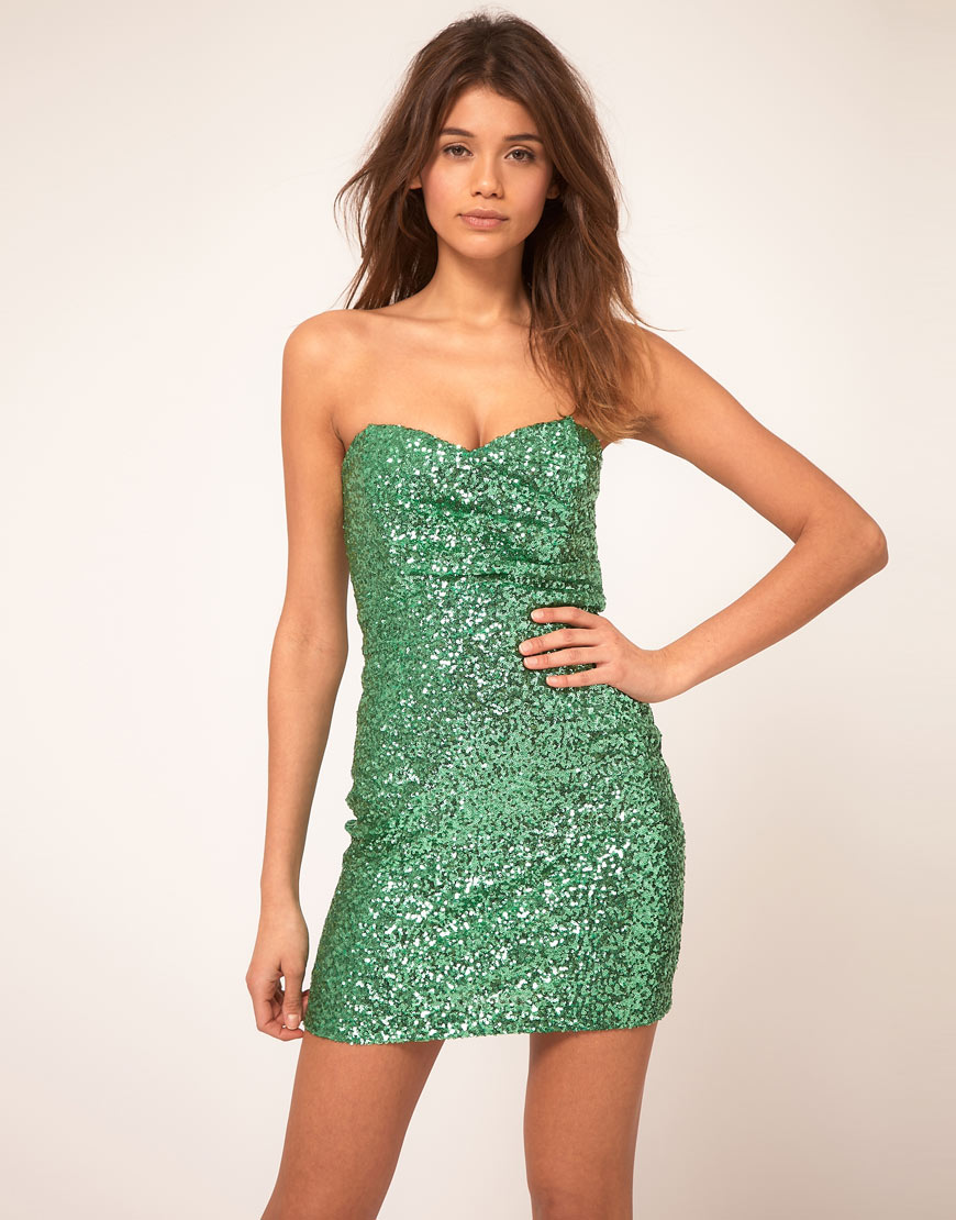Tfnc london Tfnc Bandeau Sweetheart Sequin Dress in Green - Lyst
