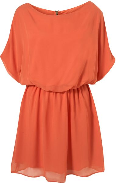 Topshop Zip Back Chiffon Rare in Orange (terracotta) - Lyst