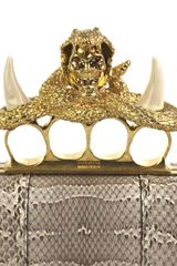 Alexander Mcqueen Ayres Snake Knuckleduster Clutch in Gray (grey) - Lyst