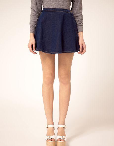 american apparel denim circle skirt in blue denim lyst