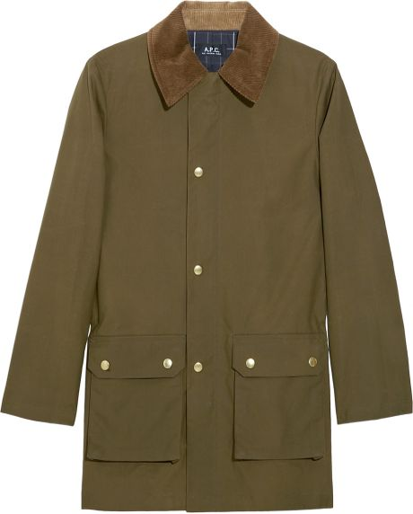 A.p.c. Corduroy-Collar Cotton Jacket in Green (olive) - Lyst