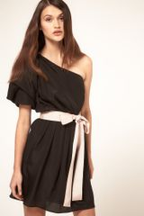 ASOS Collection Asos One Shoulder Drape Dress With Contrast Belt - Lyst