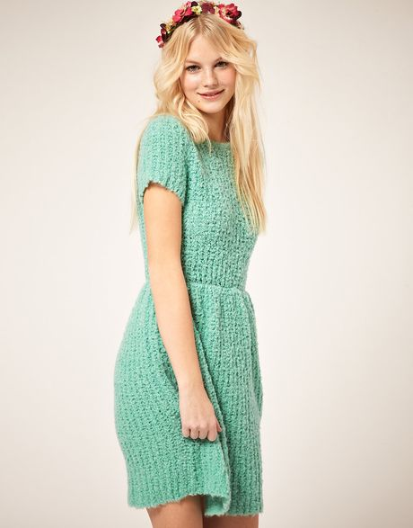 Asos Collection Asos Dress with Textured Knit in Green (mint) - Lyst