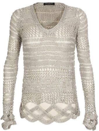 Balmain Metallic Knit Sweater with Braided Details - Lyst