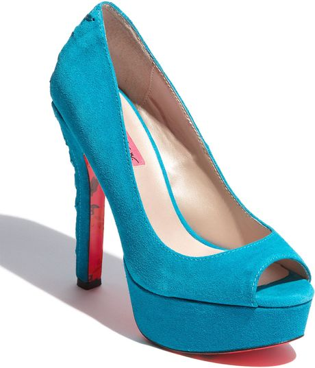 Betsey Johnson Sita Pump in Blue (teal suede) - Lyst