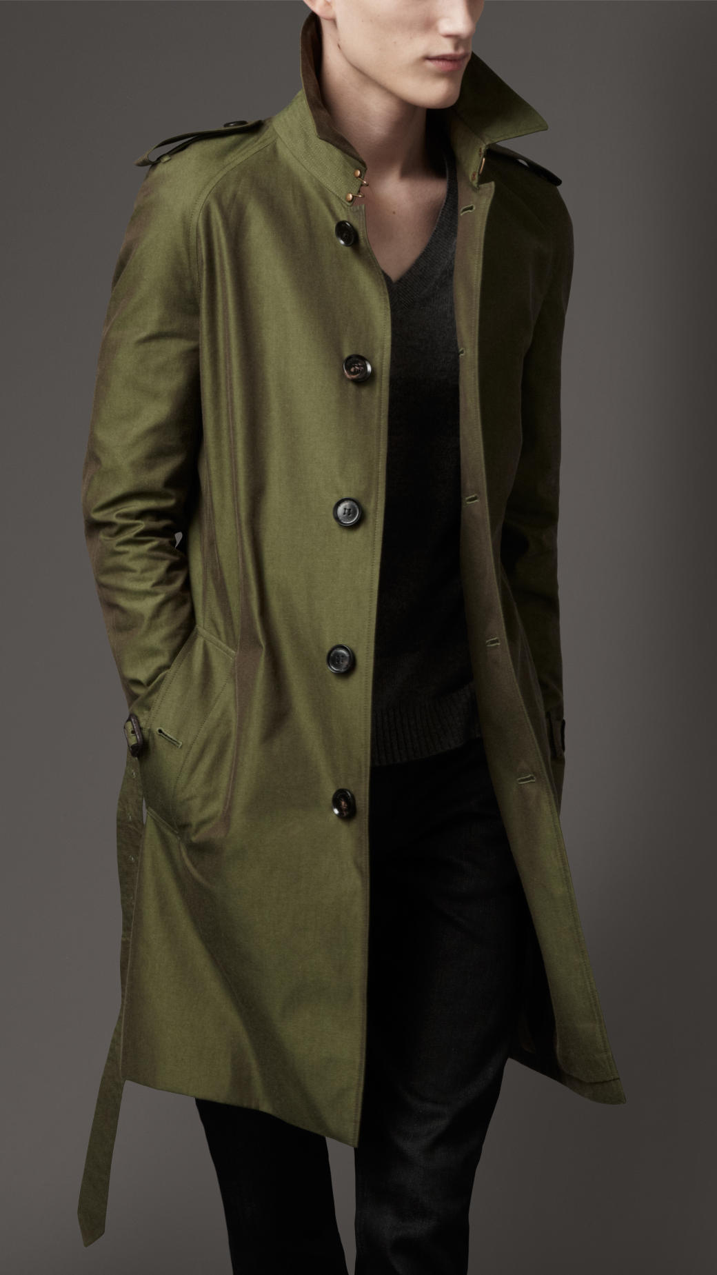 Burberry Classic Cotton Trench Coat In Green For Men Lyst