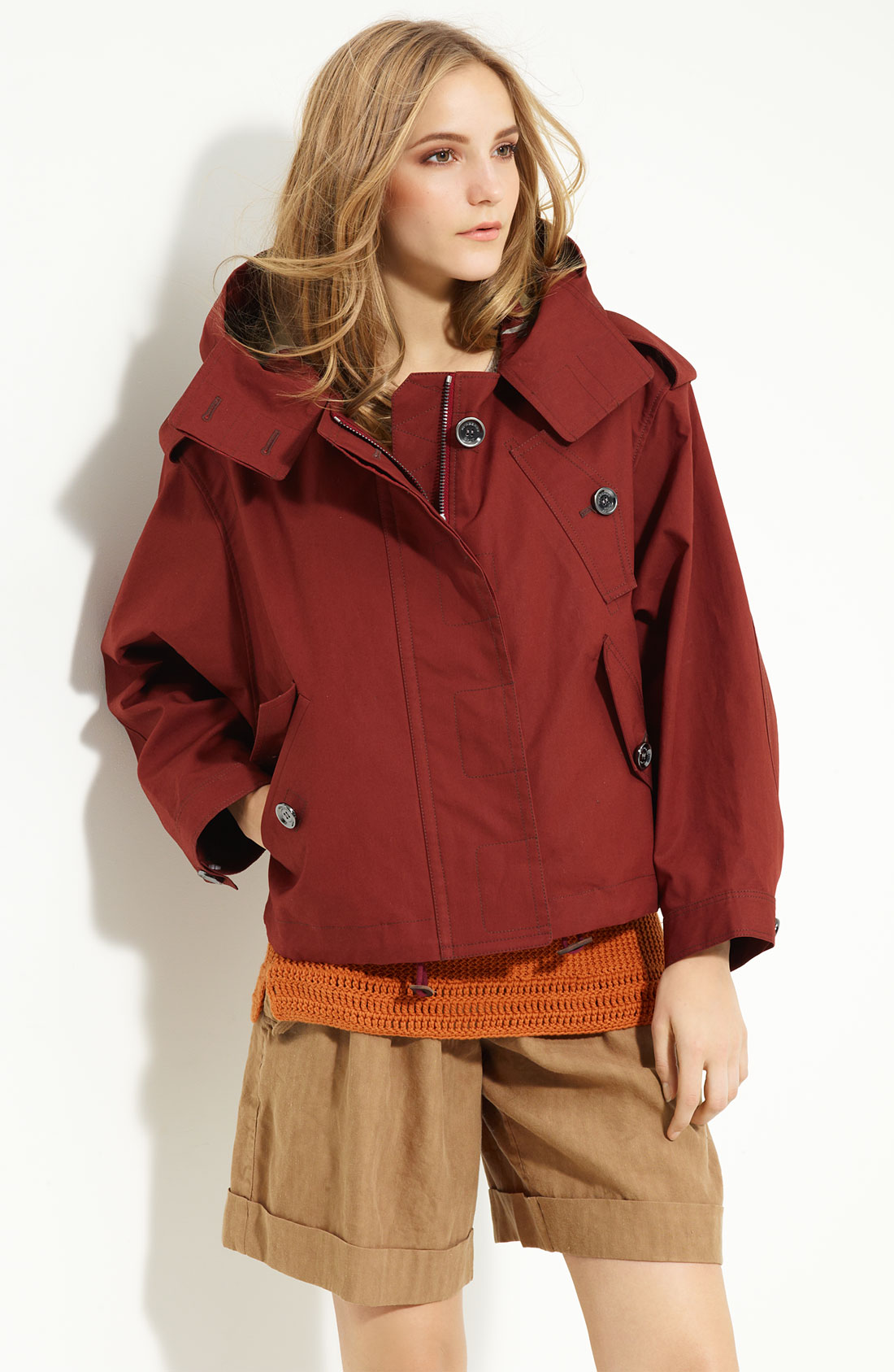 Burberry Brit Hooded Short Jacket In Brown (conker)