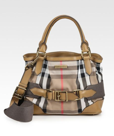 Burberry Small Cotton Tote Bag in Brown (camel)