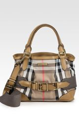Burberry Small Cotton Tote Bag in Brown (camel) - Lyst