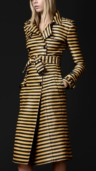 Burberry Prorsum Striped Jacquard Slim Trench Coat - Lyst