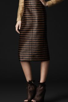 Burberry Prorsum Cotton Blend Stripe Skirt - Lyst