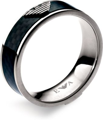 Emporio Armani Leather & Stainless Steel Ring - Lyst