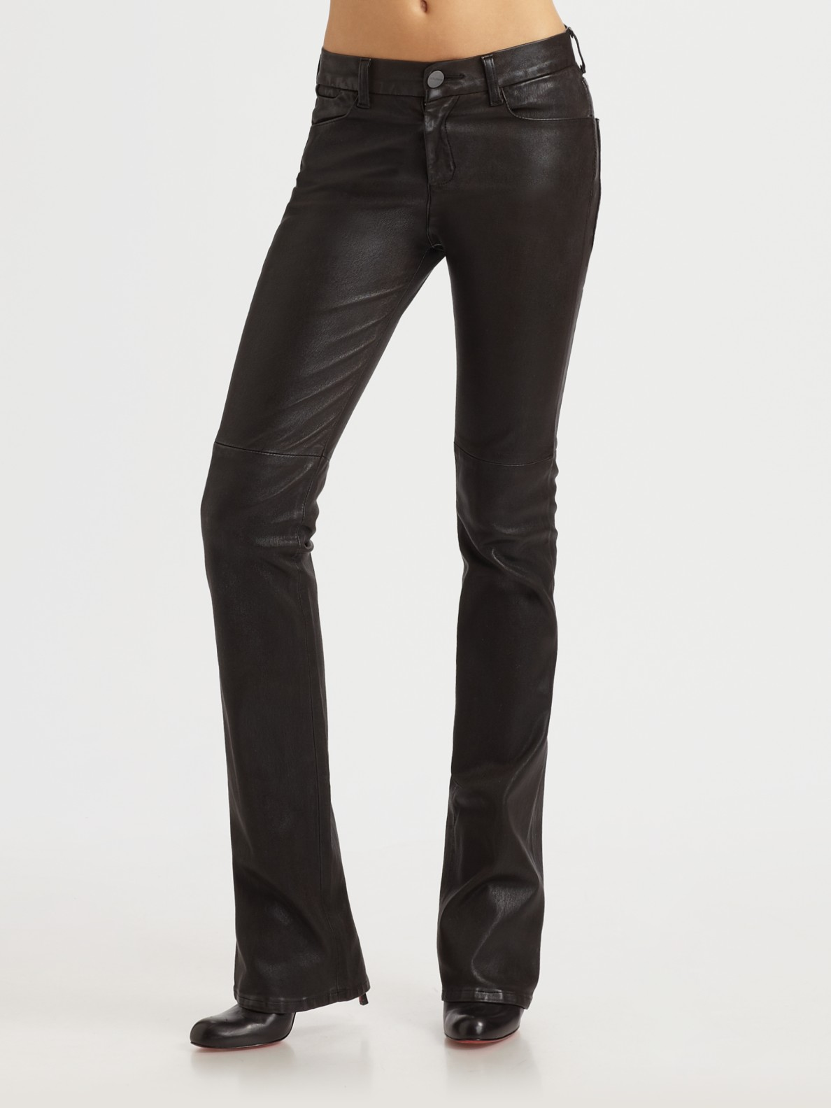 Goldsign Quinn Slim Bootcut Leather Jeans in Black | Lyst