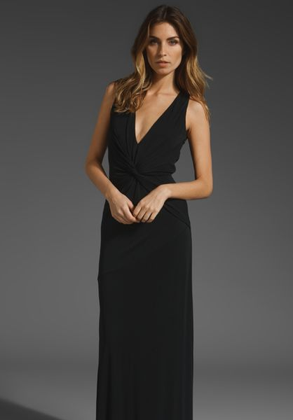 Halston Heritage Twist Front Gown in Black - Lyst