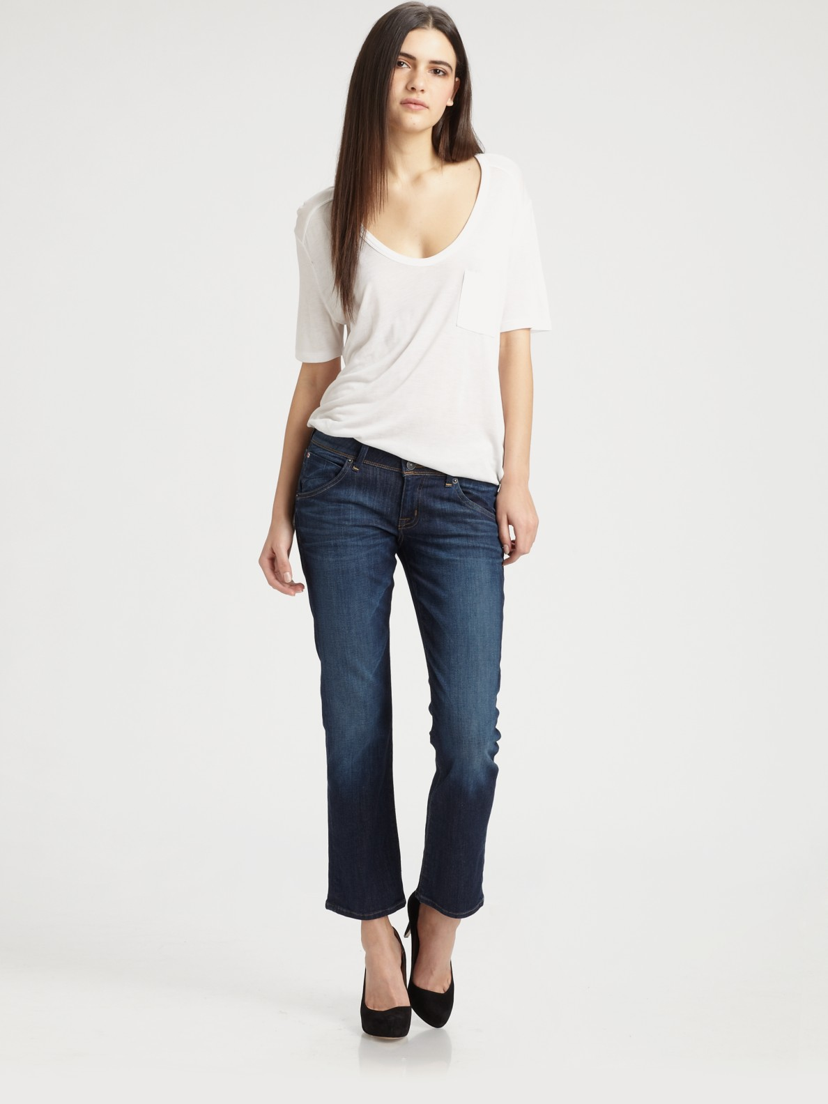 Hudson Beth Baby Boot Crop Jeans In Black White Lyst