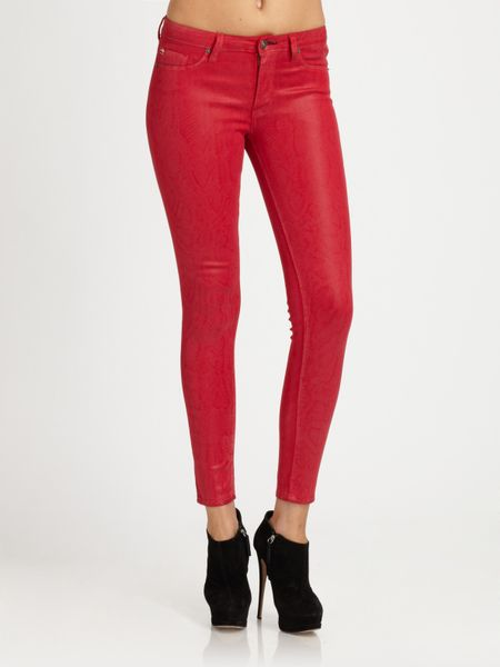 Hudson Nico Mid Rise Coated Skinny Jeans In Red Lyst