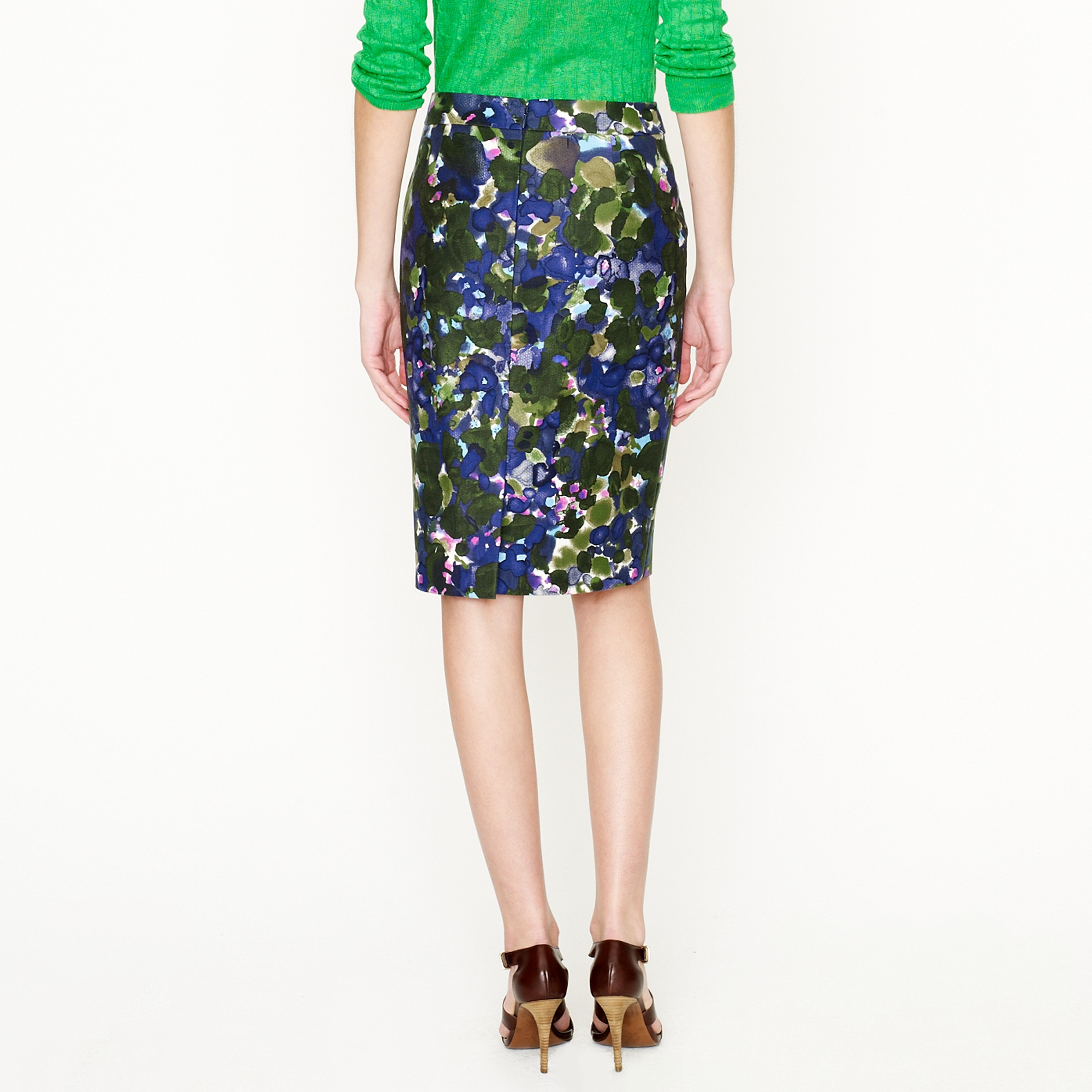 j crew no 2 pencil skirt in gardenshade floral in blue lyst