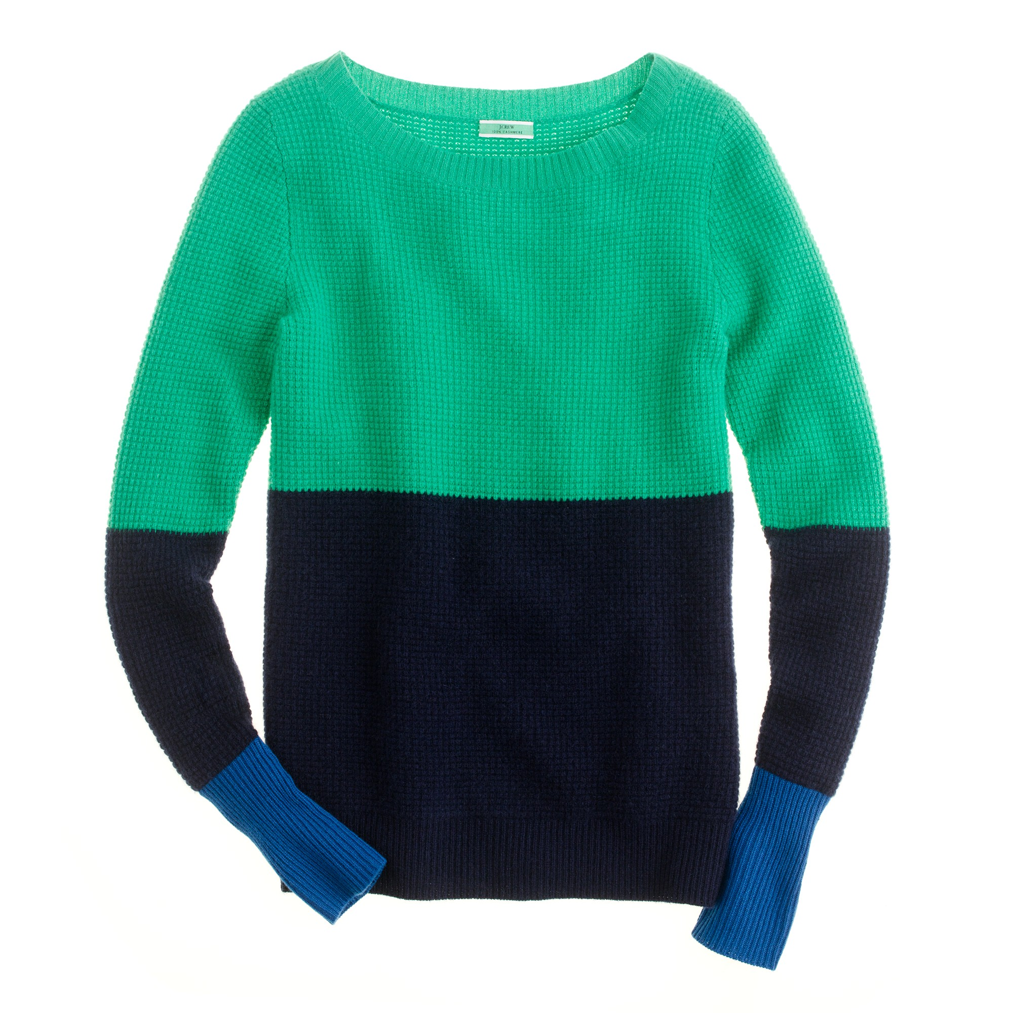Jcrew Cashmere Waffle Colorblock Sweater In Blue Lyst