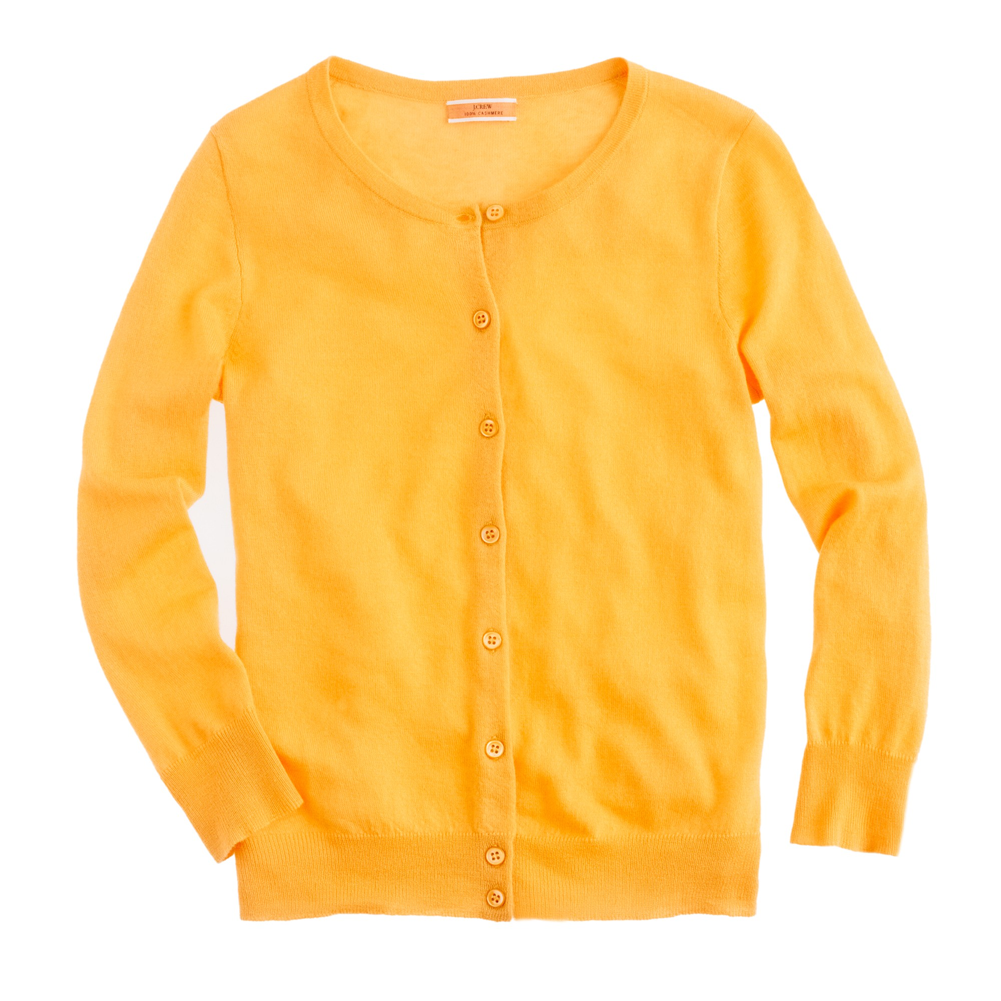 J.crew Featherweight Cashmere Cardigan in Orange | Lyst