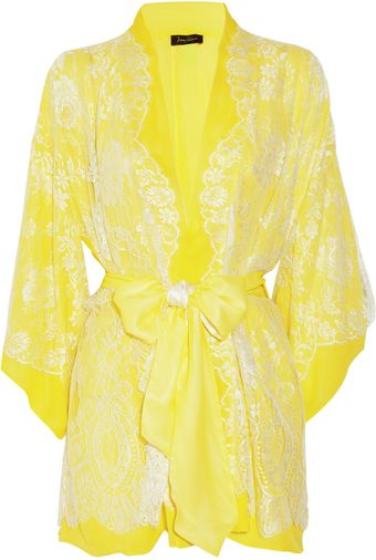 Jenny Packham Chantilly Lace and Silk-chiffon Robe - Lyst