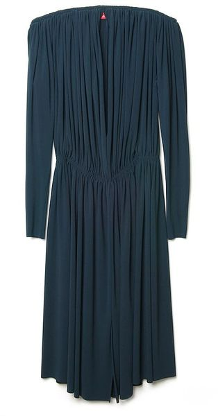Lanvin Deep-v Drape Dress - Lyst